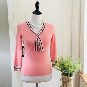 LOFT Soft Pink Striped Tie Spring Sweater